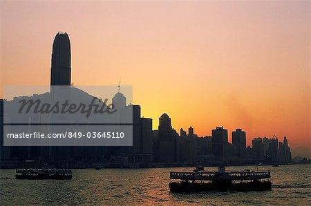 China,Hong Kong,City Skyline and Victoria Harbour at Dusk