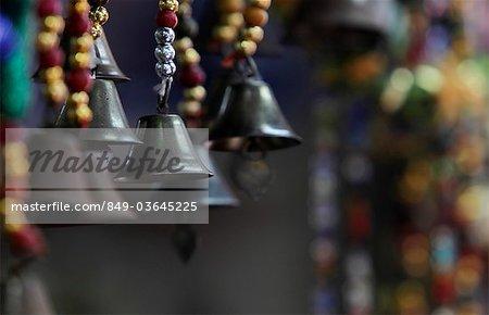 Close up of hanging bells
