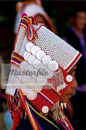 Thailand,Chiang Rai,Akha Hilltribe Woman Wearing Traditional Silver Headpiece