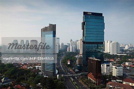 Skyline of skyscrapers along Jalan Jend Sudirman, Jakarta, Indonesia