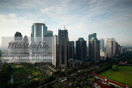 Office buildings and skyscrapers along Jalan Jend Sudirman-Senayan, including Jakarta stock exchange, Indonesia