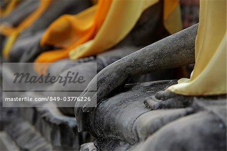 Close up of stone Buddha's hand at Wat Yai Chaya Mongkol