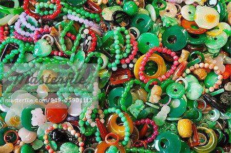 Jade jewelry at the Jade Market, Hong Kong, China