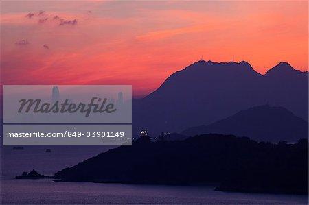 City Skyline View from Lantau Island at Dawn, Hong Kong, China