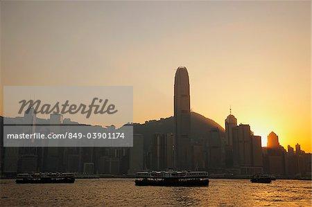 Hong Kong City Skyline and Victoria Peak at sunrise.