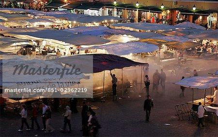 Djemaa el Fna market at dusk,Marrakech (Marrakesh),Morocco