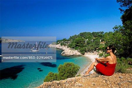 woman at Cala Salad, Ibiza, Spain