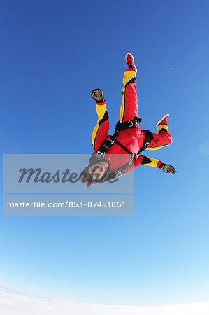 Skydiver in free fall, Honolulu, Hawaii, USA