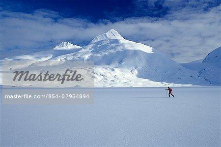 Cross country skier Portage Lake SC Alaska