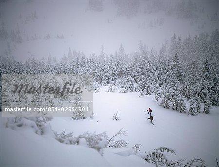 People Skiing in a Snow Storm @ Douglas Island SE AK Winter Scenic