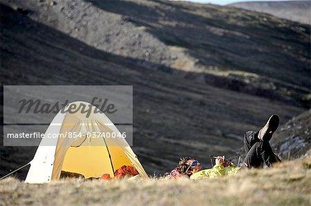 Backcountry hiker camps in the Katak Creek valley, Brooks Range, ANWR, Arctic Alaska, Summer