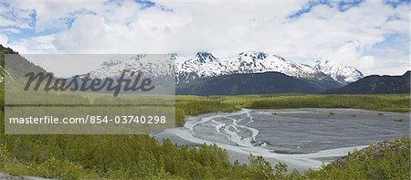 Scenic panorama of the outwash plain of Exit Glacier near Seward, Kenai Fjords National Park, Kenai Peninsula, Southcentral Alaska, Spring