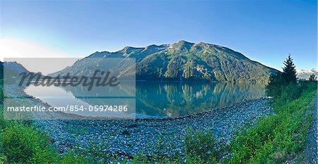 View across Lutak Inlet towards the Coastal Mountain Range, Haines, Southeast Alaska, Summer