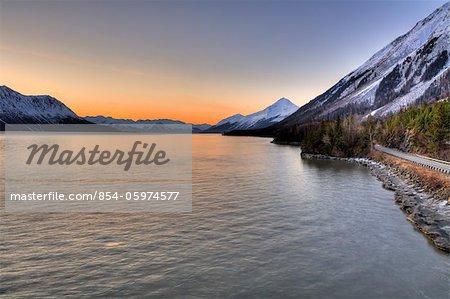 Scenic view of the Hope Highway along Turnagain Arm at sunrise, Kenai Peninsula, Southcentral, Alaska, Spring, HDR