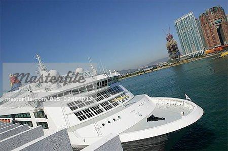 West Kowloon skyline & cruiser, Hong Kong