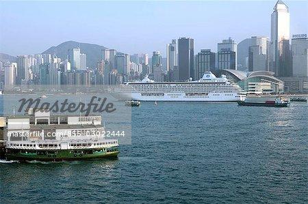 Cruiser departing in Victoria Harbour,Hong Kong
