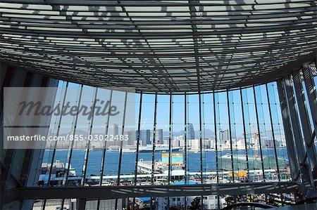 Kowloon skyline through the windows of 2IFC Tower,Hong Kong