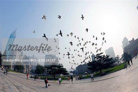 People at leisure at Zhongshan Square park,Dalian,China,Dalian China