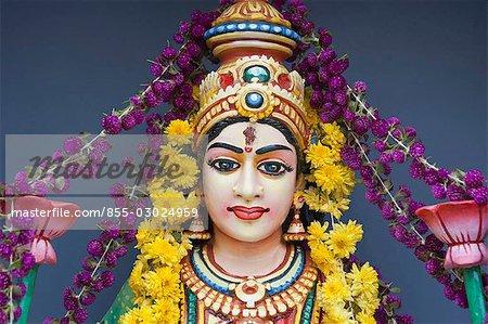 Goddess statue at the front of Sri Senpaga Vinayagar temple,Katong,Singapore