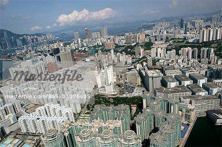 Aerial view over Hung Hom,Kowloon,Hong Kong