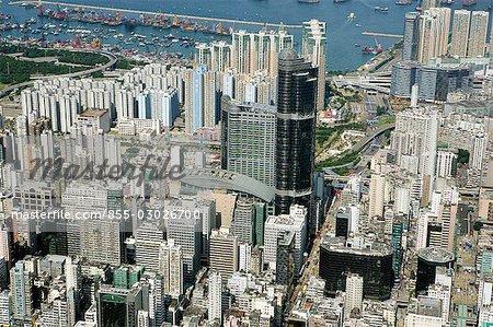 Aerial view over Mongkok,Kowloon,Hong Kong