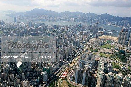 Aerial view over Mongkok & Tai Hong Tsui,Kowloon,Hong Kong