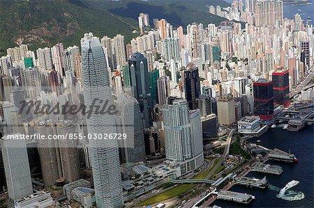 Aerial view over Central & Sheung Wan,Hong Kong
