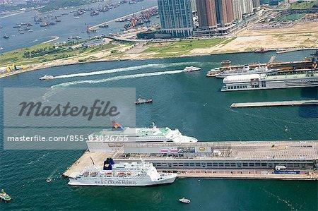 Aerial view over Ocean Terminal,Hong Kong