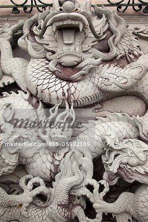 Dragon stone carving at Shi-Keng Court, Chaoshan, China