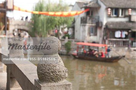 Tourist boat on canal, Fengjing, Shanghai, China