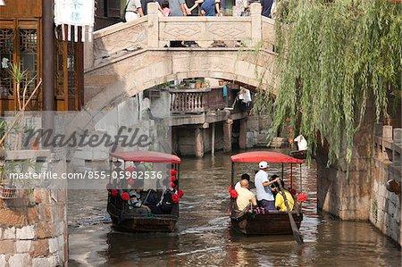 Tourist boats on canal, Fengjing, Shanghai, China
