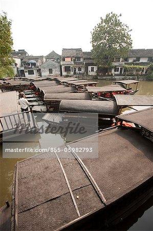 Boat pier, old town of Xitang, Zhejiang, China