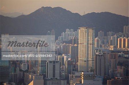 Kowloon cityscape from the Peak at dusk, Hong Kong