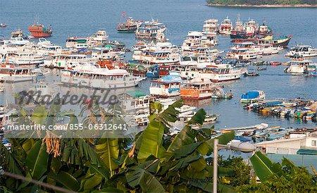 Yachts and boats mooring by the pier, Sai Kung, Hong Kong