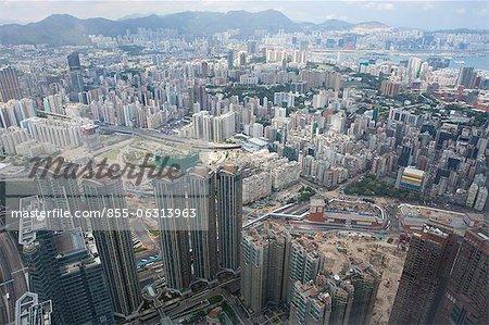 Bird's eye sweep of Mongkok area from Sky100, 393 metres above sea level, Hong Kong
