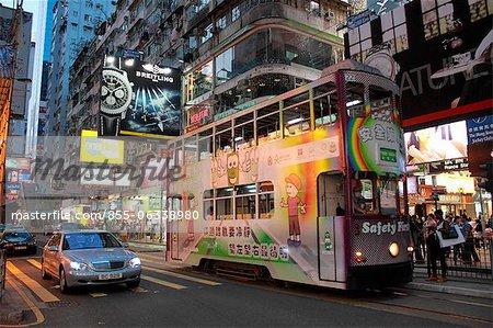 City tram running at Causeway Bay at night, Hong Kong