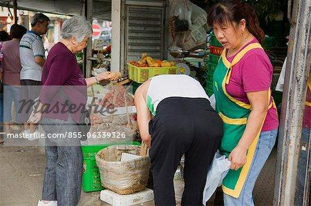 A vegetable store at Taipo market, Taipo, Hong Kong