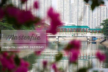 Chinese style bridge on the river at Tai Po Market, Taipo, Hong Kong