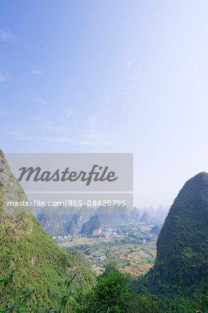 Karst peaks with Yulong river (Yulonghe) view from Moon hill (Yueliangshan), Yangshuo, Guilin, Guanxi, PRC