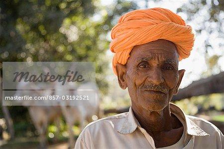 Portrait of a farmer, Udaipur, Rajasthan, India