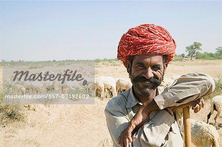 Portrait of a shepherd smiling, Jodhpur, Rajasthan, India
