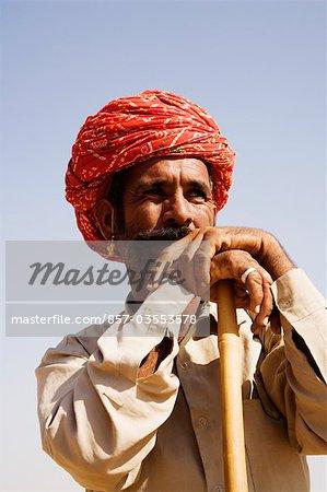 Close-up of a shepherd looking away, Jodhpur, Rajasthan, India