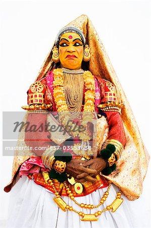 Close-up of a woman kathakali dancing