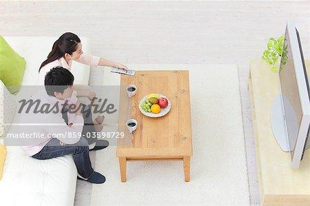 Japanese Couple Wathcing TV