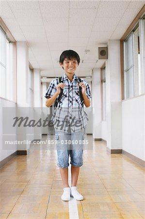Schoolboy With School Bag