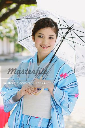 Japanese woman in a Yukata smiling away