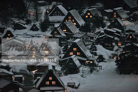 Shirakawa-go village under the snow, Gifu Prefecture, Japan