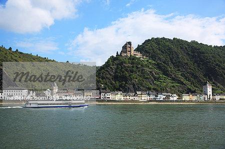 Germany, Rhineland-Palatinate, Upper Middle Rhine Valley, Kaub, Burg Gutenfels, UNESCO World Heritage