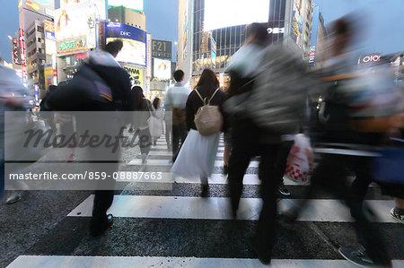 People walking downtown Tokyo, Japan