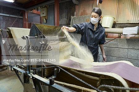 Japanese artisan working in the studio
